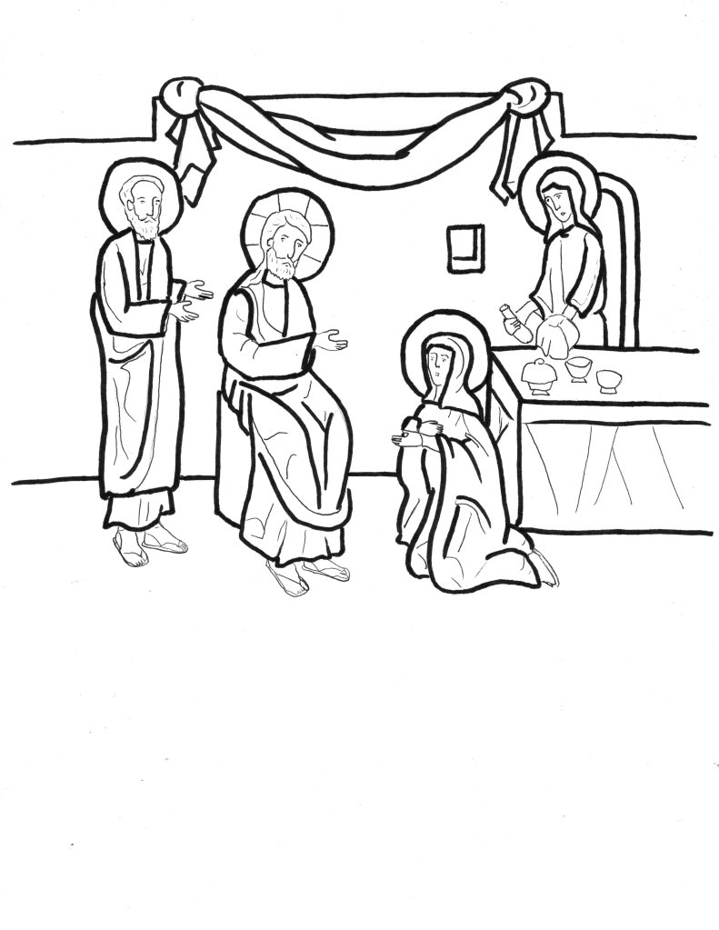 Martha and Mary coloring pages | Martha and Mary Bible | 1024x791